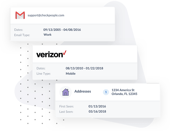 Visualization of Gmail, Verizon, and Address results returned from the People Search